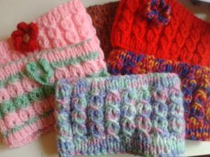 Just a small selection of some of the earwarmers Pauline has made