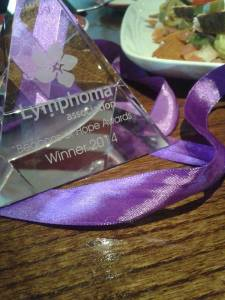 My award with a celebratory lunch!